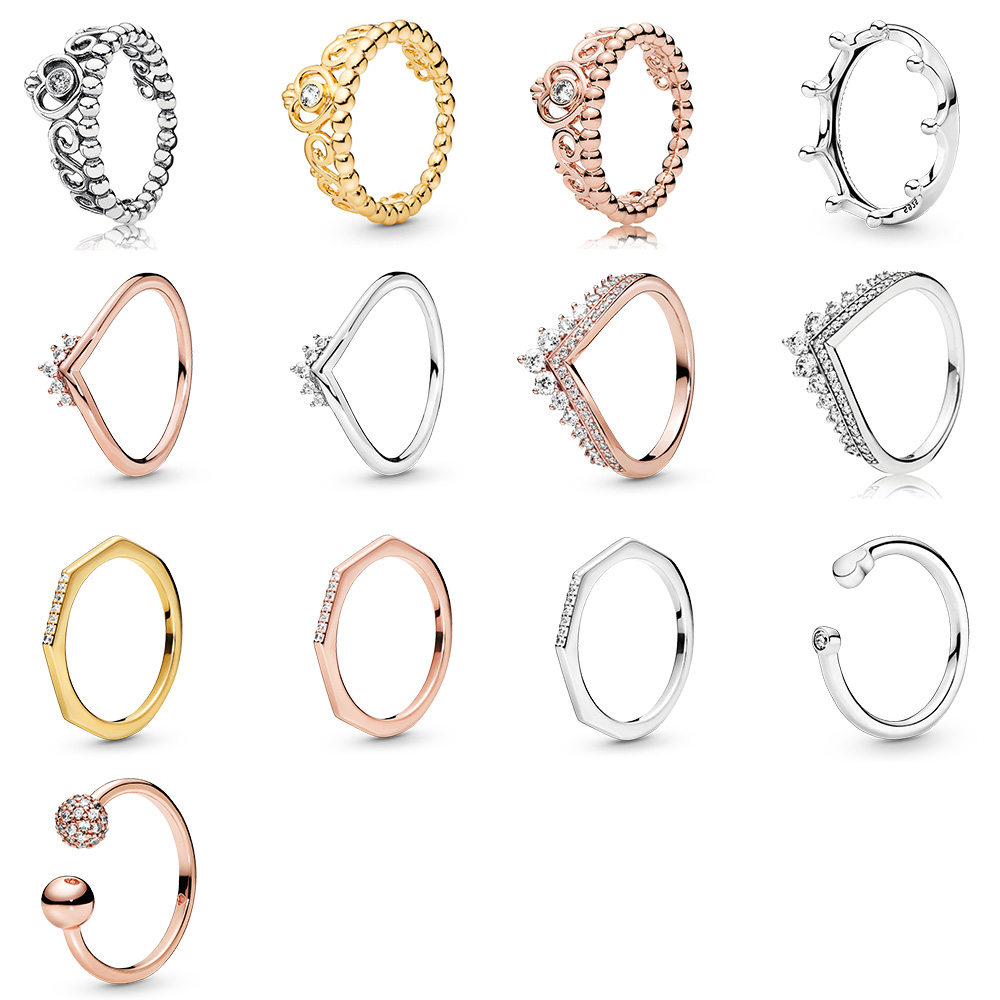 925 Sterling Silver Ring Charms Ice Snowflake Crown Rose Gold Round Balls Ring For Women 925 Party Birthday Jewelry(China)