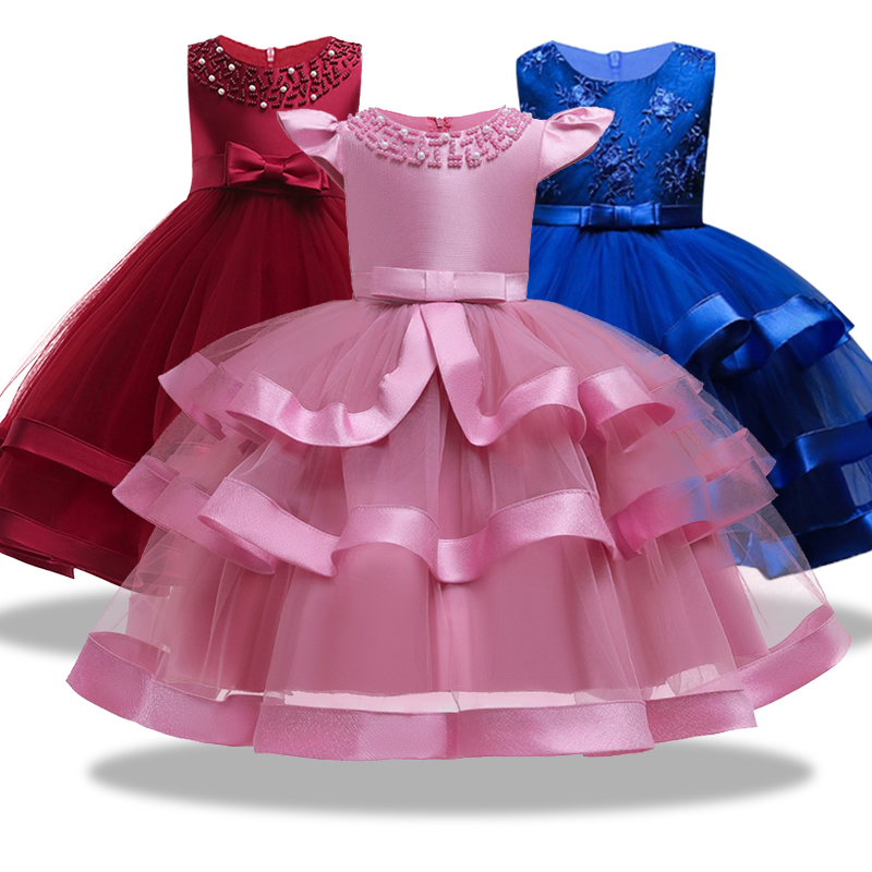 Flower Girls Dresses For Weddings Party Ball Gown Organza Royal Wine Red Kids Prom Bead Adornment Dresses Evening Gowns Vestido