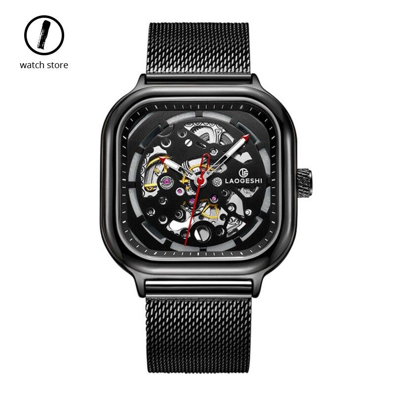 Модные квадратные механические часы для мужчин, Топ люксовый бренд, автоматические скелетные часы, водонепроницаемые, с большим циферблато