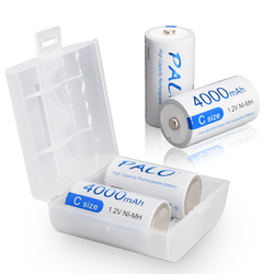 PALO 2-12pcs C Size Rechargeable Battery Type C 1.2V 4000mAh NI-MH Ni Mh Nimh High Capacity Current Rechargeable Batteries