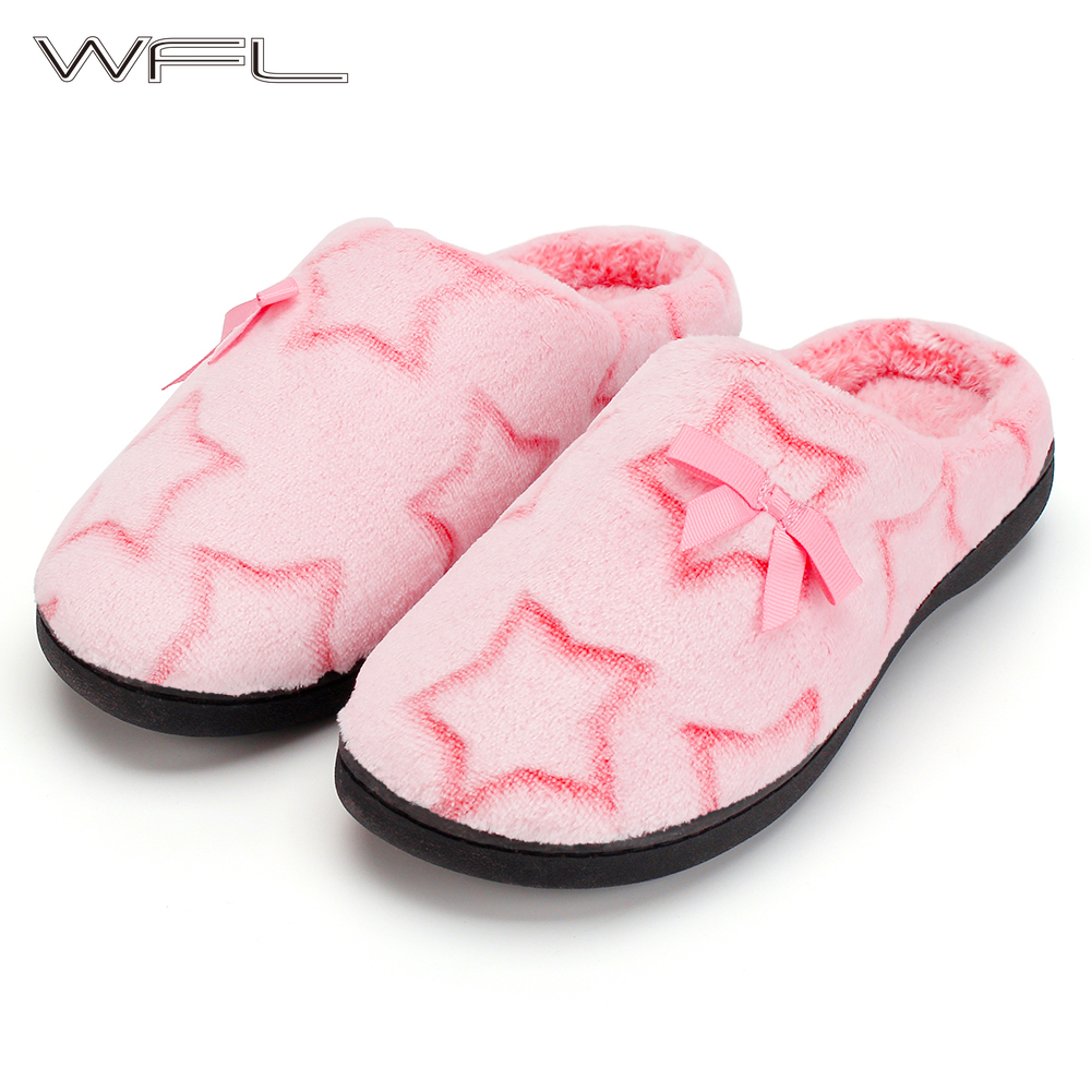 WFL Women Shoes Cozy Flannel With Star Pattern And Anti-Slip Soles Winter House Slippers Warm Memory Foam Furry Soft Slippers