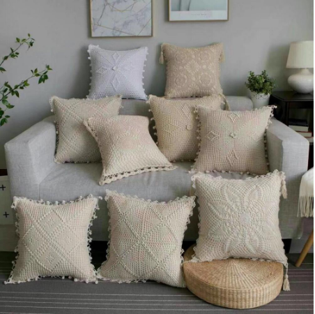 Square Village Hand Made Crochet Tassel Cushion Cushion Cover 45 Cm Large Fashion Home Decoration White Ivory