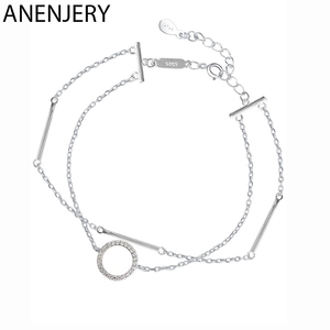 ANENJERY Simple 925 Sterling Silver Double-layer Circle Geometric Bracelet For Women Fashion Zircon pulseras Jewelry S-B99(China)