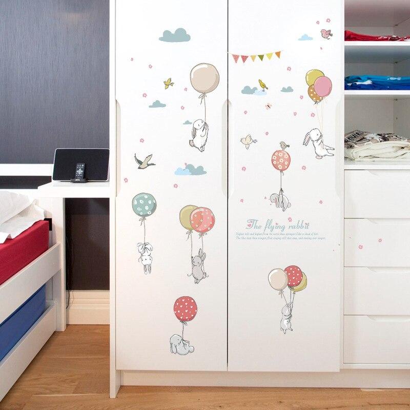 Cartoon Balloon Rabbit Wall Sticker For Kids Rooms Bedside Wardrobe Wallpaper Decoration Mural Art Decals Nursery Stickers