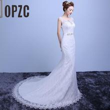Женское кружевное свадебное платье, элегантное платье невесты с юбкой годе, недорогие свадебные платья, 2020