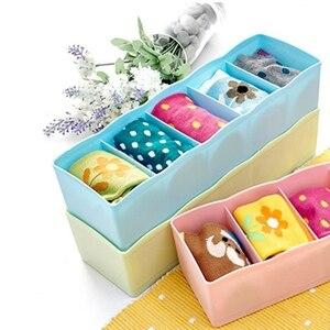 5 Grids Wardrobe Storage Box Basket Organizer Women Men Socks Bra Underwear Storage Box Plastic Container Organizer Cosmetic