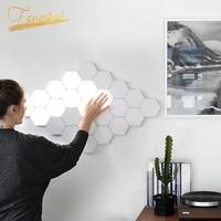 Moderna lâmpada de parede led crianças lâmpada favo mel montagem modular helios toque lâmpadas parede quantum lâmpada da arte magnética luz parede|Luminárias de parede| |  -
