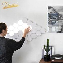 Nowoczesna lampa sufitowa LED lampa dla dzieci Honeycomb modułowy montaż Helios ekran dotykowy lampy Quantum lampa dla dzieci magnetyczna ściana artystyczna światło w Wewnętrzne kinkiety LED od Lampy i oświetlenie na