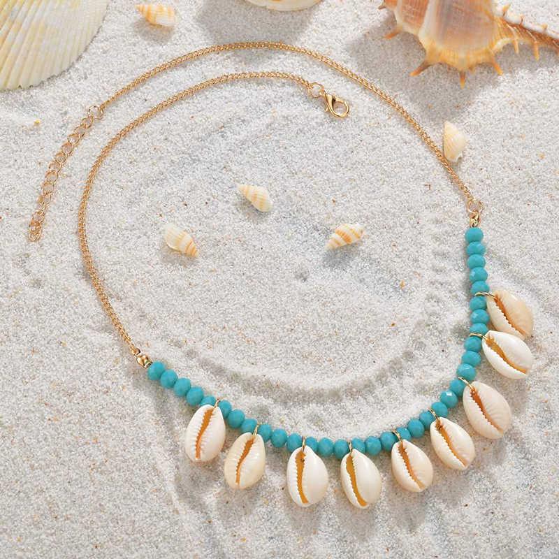 Modyle แฟชั่นสีฟ้าเชือกเปลือกหอยธรรมชาติ Choker สร้อยคอสร้อยคอสร้อยคอ Shell Choker สร้อยคอสำหรับฤดูร้อน Beach ของขวัญ