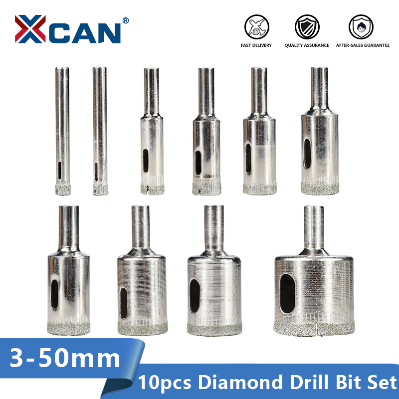 XCAN Diamond Drill Bit 10pcs 3-50mm For Glass Tile Marble Granite Core Hole Saw Drill Bits