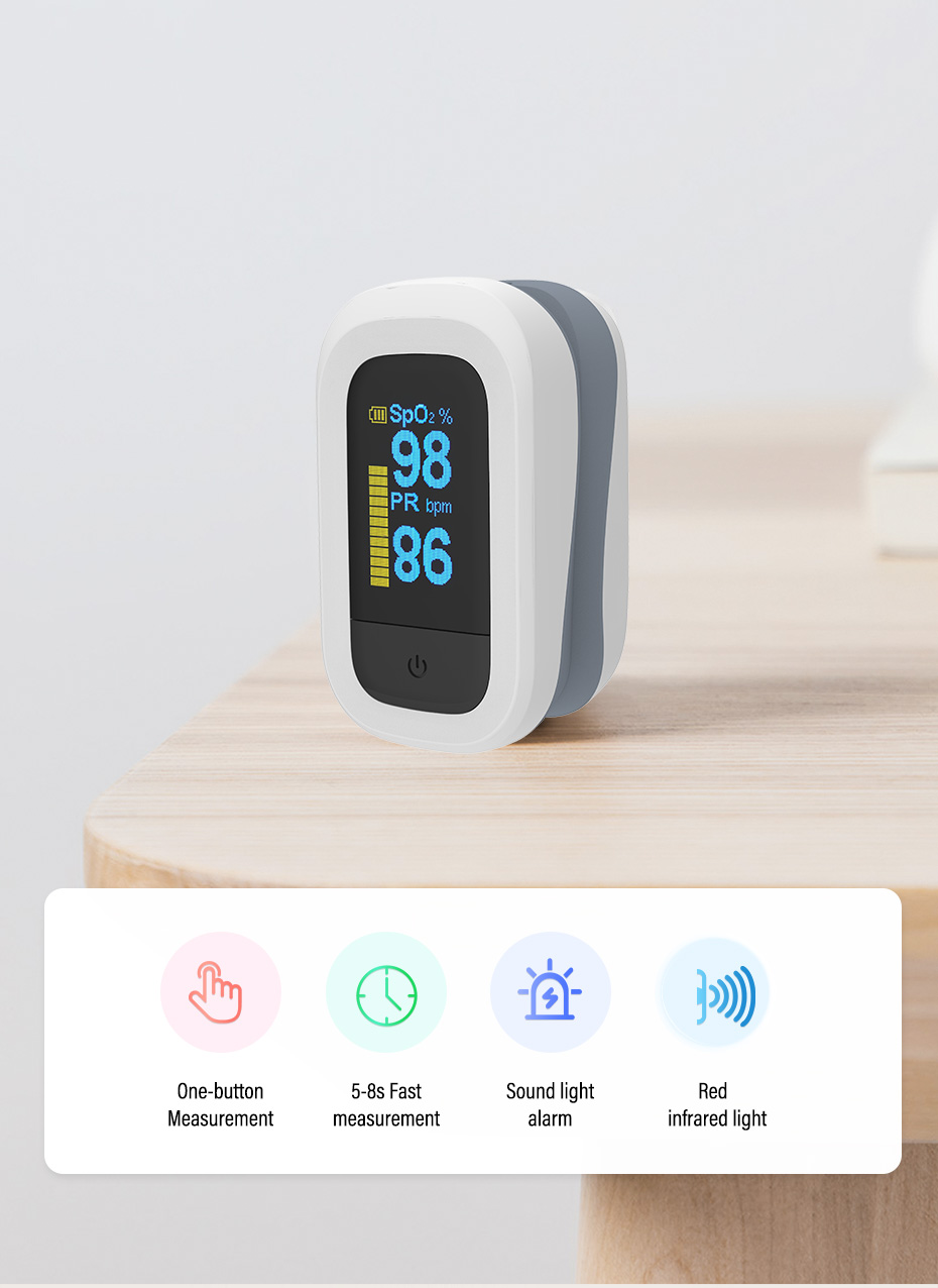 YONGROW Medical Fingertip Pulse with Sound and Light Alarm and OLED Display 16
