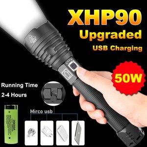 20000 люменов Xhp90 мощный светодиодный светильник для вспышки Usb Перезаряжаемый фонарь Xhp50 Xhp70 ручной светильник 26650 18650 Аккумуляторный светильн...