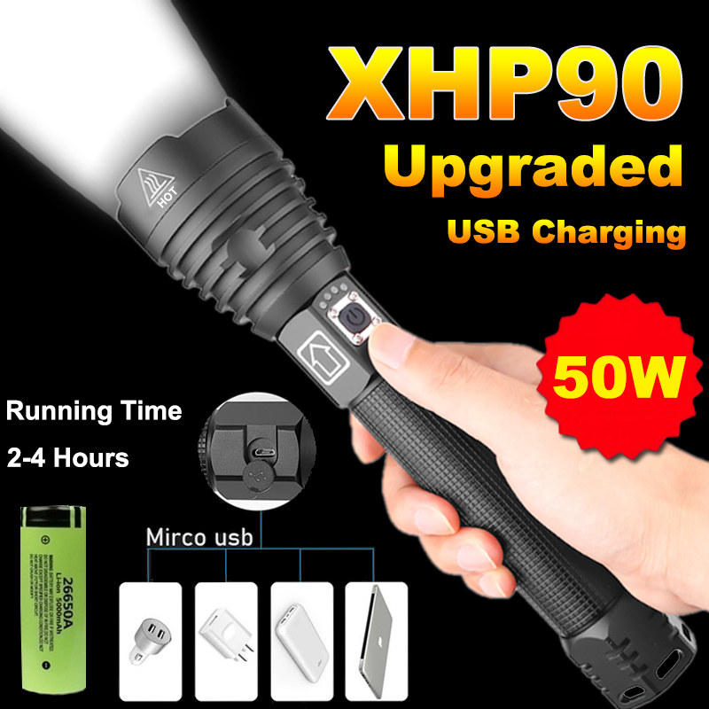 20000 Lumens Xhp90 Powerful Led Flashlight  Usb Rechargeable Torch  Xhp50 Xhp70 Hand Lamp 26650 18650 Battery Flash Light