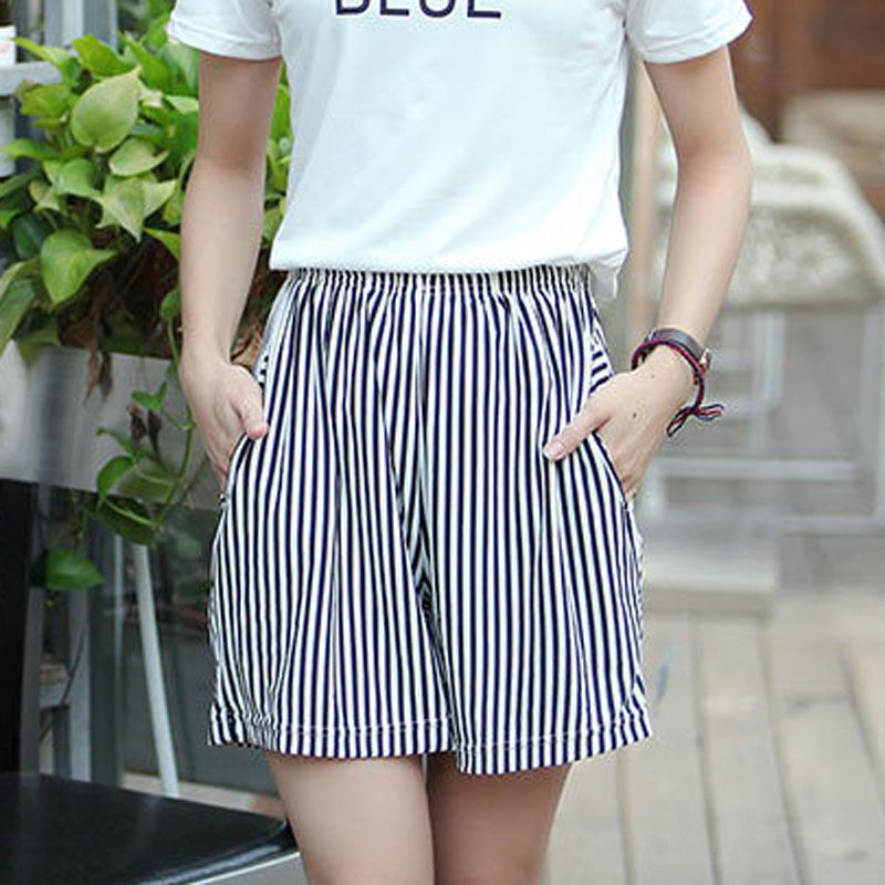 Summer Women Striped Shorts Elastic Waist Wide Leg With Pockets Shorts Casual Female Fashion Shorts 2020 New Arrival