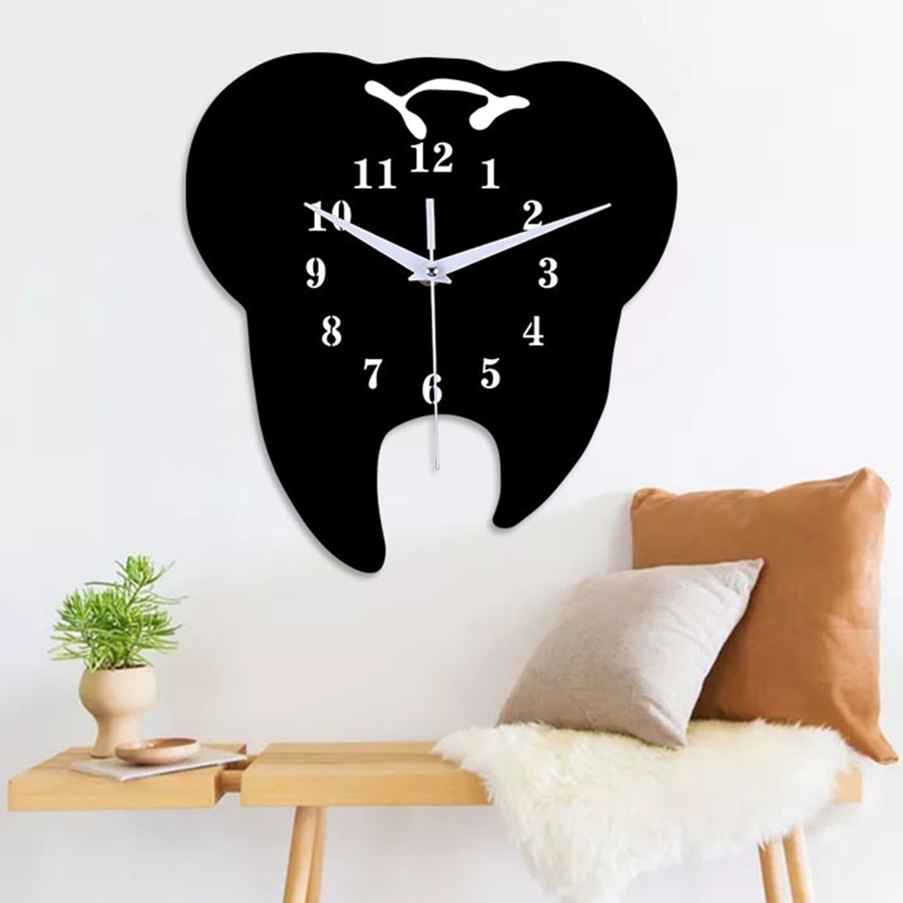 HOT Quartz Needle Clocks Creative Teeth Wall Clocks Horloge 3d Diy Acrylic Mirror Stickers Home Decoration Living Room