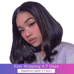 13x4 Lace Frontal Bob Wig Straight Short Lace Closure Human Hair Wig For Black Women Hd Pre Plucked Brazilian Bob Full Front Wig