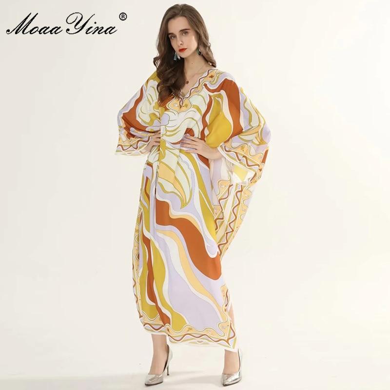 Moaayina Fashion Designer Runway Dress Spring Summer Women Dress V Neck Batwing Sleeve Geometry Print Plus Size Maxi Dresses Dresses Aliexpress