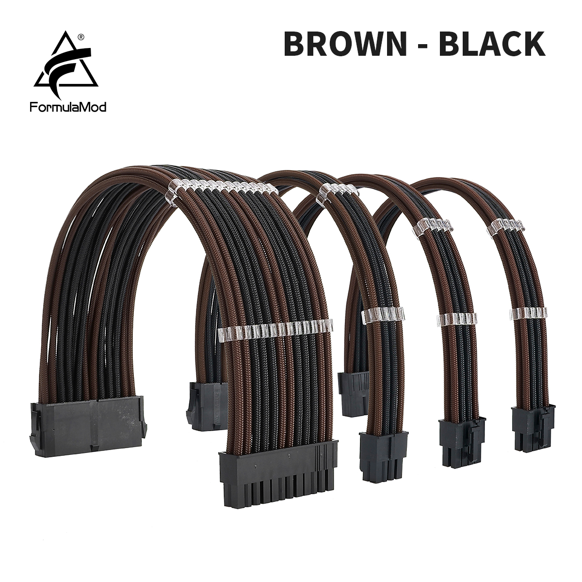 FormulaMod NCK2 Series PSU Extension Cable Kit , Solid Color Cable Mix Combo 300mm ATX24Pin PCI-E8Pin CPU8Pin With Combs