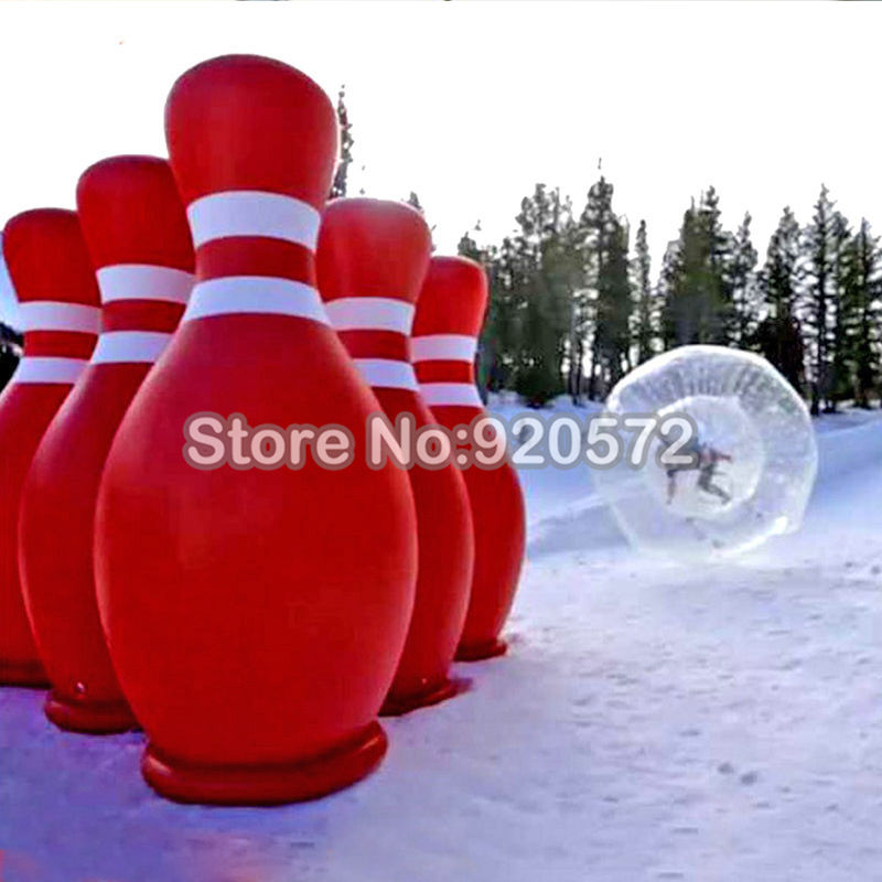 Free Shipping ! Free a Pump!  2 zorb balls With 6 Pieces Lot 1.8m Inflatable Advertising Bowling Ball For Human Bowling Pins