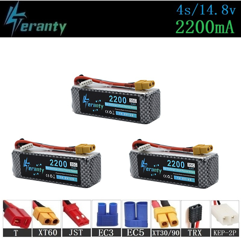 4S <font><b>14.8V</b></font> <font><b>2200mAh</b></font> Rechargeable <font><b>Battery</b></font> For RC Toys Car Boats Helicopter rc Drone Parts 4s Lithium <font><b>battery</b></font> <font><b>14.8v</b></font> Lipo <font><b>Battery</b></font> 3pcs image