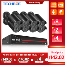Techege H.265 8CH 1080P HDMI POE NVR 키트 CCTV 보안 시스템 2.0MP IR 야외 오디오 기록 IP 카메라 P2P 비디오 감시 세트
