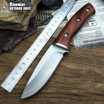 LCM66 hunting straight knife tactical knifeFixed Knives,steel head+solid wood handle Survival Knife,Camping Rescue Knife tools 1