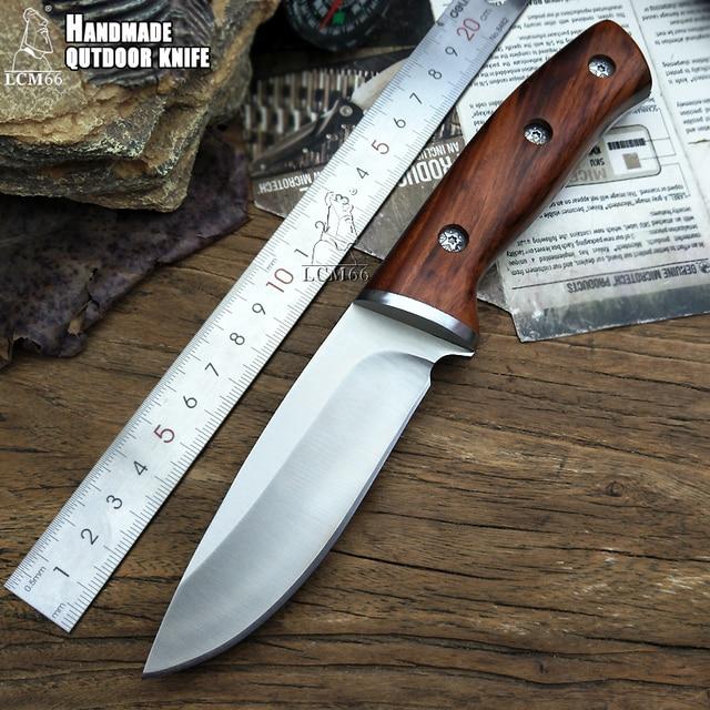 LCM66 الصيد سكين مستقيم السكاكين التكتيكية ، رئيس الصلب + مقبض خشب متين سكينة سرفايفل ، أدوات التخييم الإنقاذ سكين