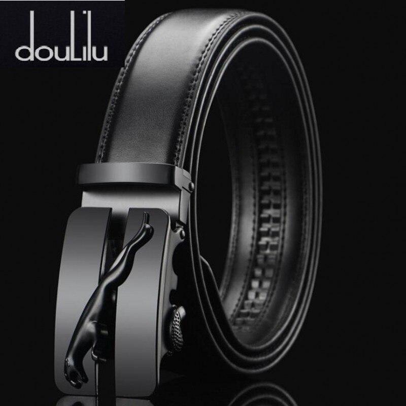 Luxury Black Jaguar Metal Automatic Buckle Waist Belt Designer Belts Men's High Quality Cow Genuine Leather Kemer For Jeans