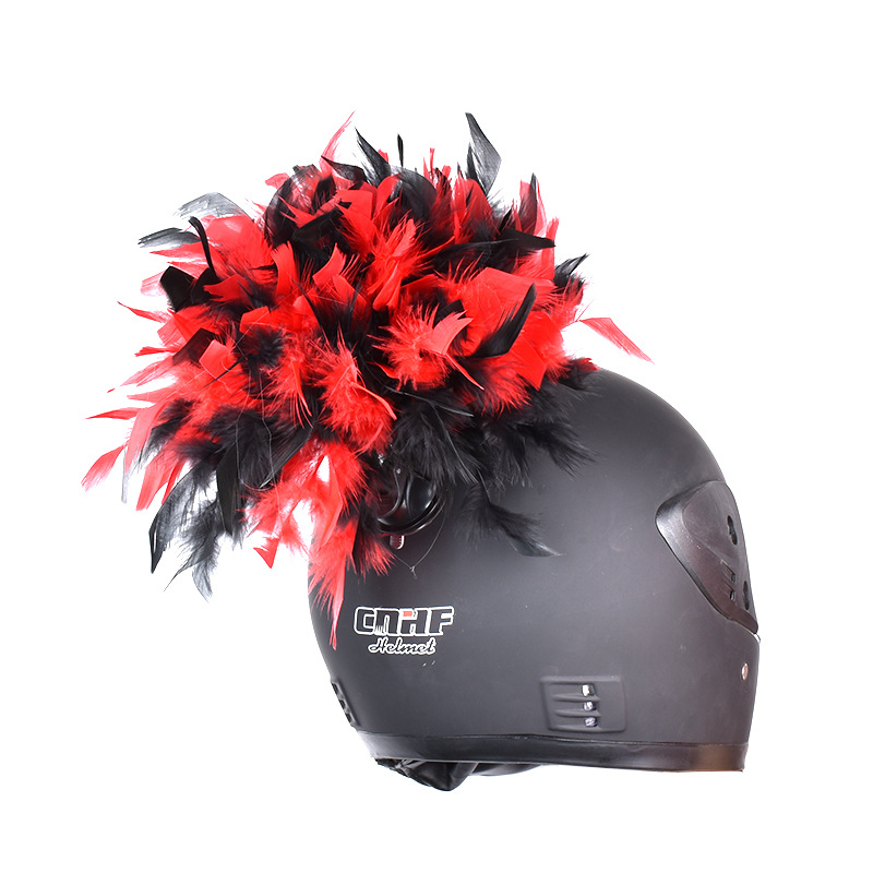 Neue Mode Motorrad Helm Dekorative Persönlichkeit Feder Unisex Motocross Racing Helm Kühlen Trend Dekoration Punk Stil