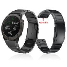 Garmin Fenix 6X Pro 밴드 팔찌 용 금속 스테인레스 스틸 스트랩 Fenix 5X Plus/3 Watch 밴드 용 26mm 퀵 릴리스 손목 스트랩
