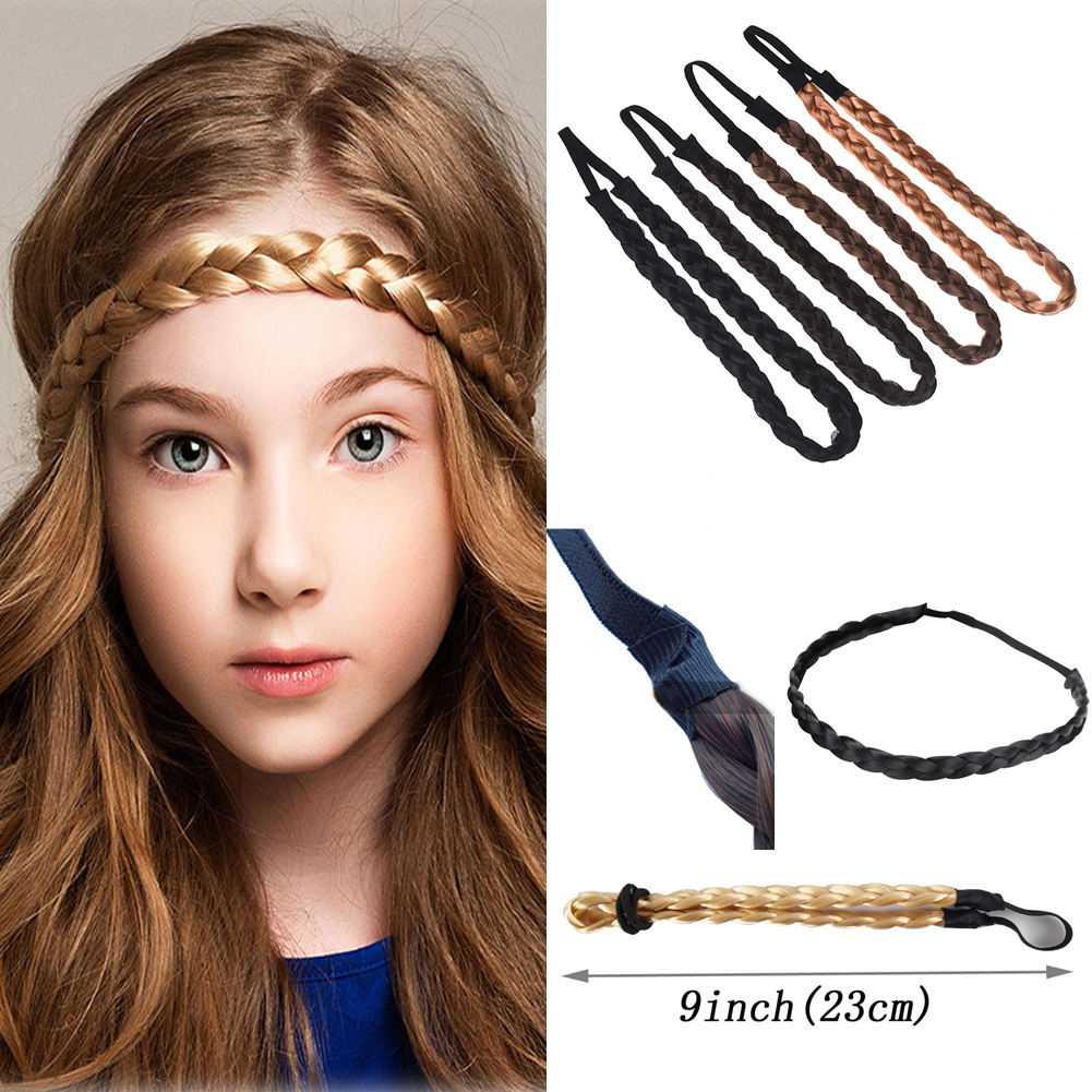 Fashion Women Girl Synthetic Hair Plaited Plait Elastic Headband Hairband Braided Band Hair Accessories Bohemian Style