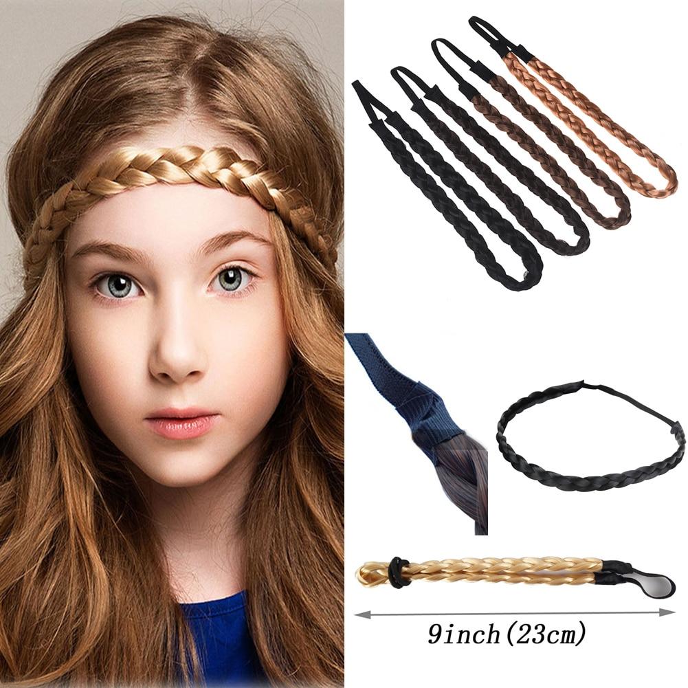 Fashion Women Girl Synthetic Hair Plaited Plait Elastic Headband Hairband Braided Band Hair Accessories Bohemian Style
