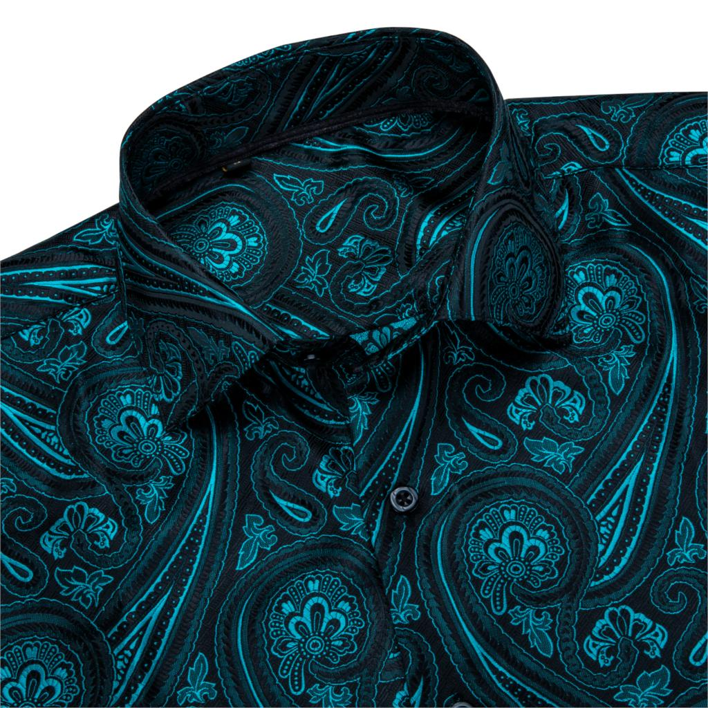 Barry.Wang Teal Paisley Floral Silk Shirts Men Autumn Long Sleeve Casual  Flower Shirts For Men Designer Fit Dress Shirt BCY-05