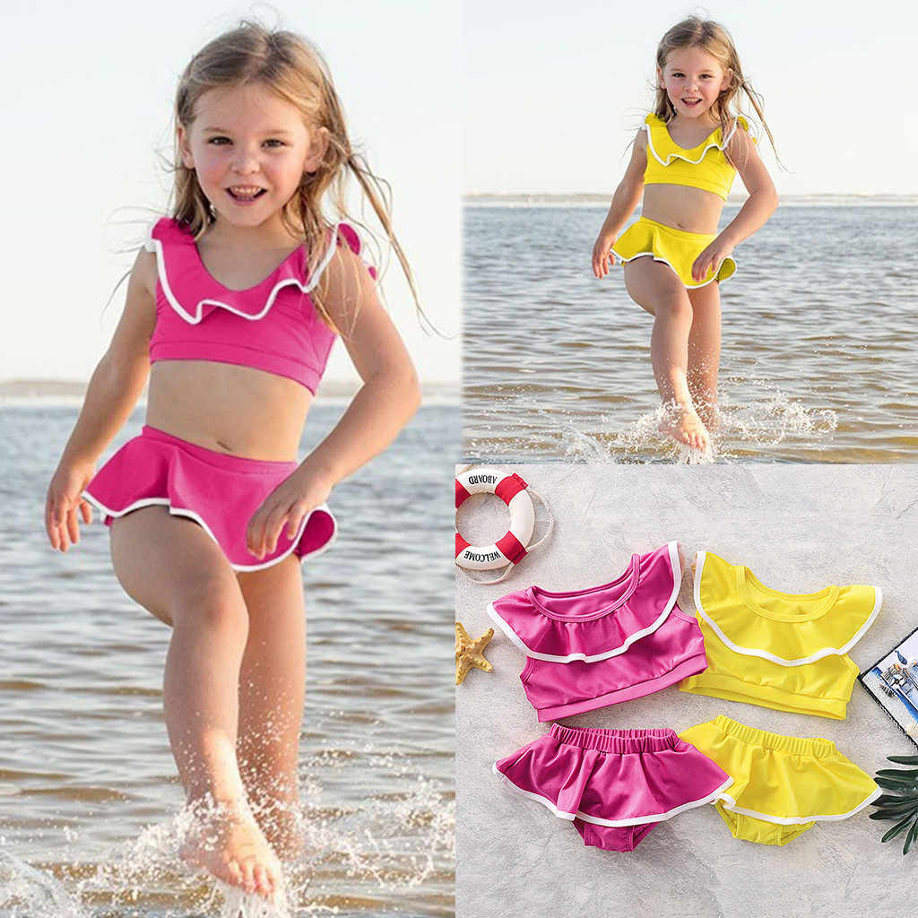 Toddler Baby Girl Swimsuit Beach Wear One Shoulder Ruffle Swimwear Two Piece Solid Color Bikini Set