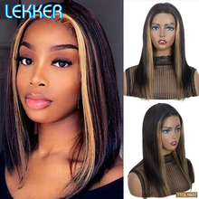 Wigs Highlight Blonde Human-Hair Dark-Roots Lace Brown Pre-Plucked Women Lekker Bob