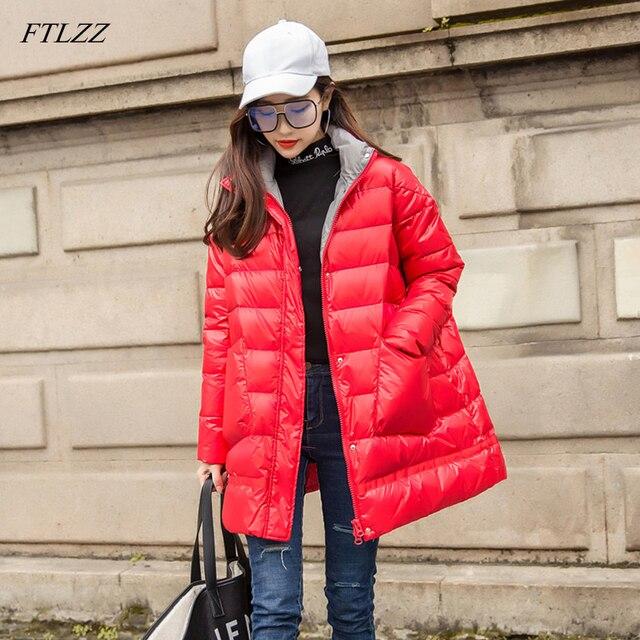 Ftlzz 새로운 겨울 다운 재킷 여성 느슨한 울트라 라이트 화이트 오리 코트 파커 여성 터틀넥 포켓 두꺼운 따뜻한 오버 코트