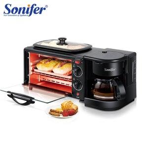 Elétrica 3 em 1 café da manhã que faz a máquina multifunções gotejamento máquina de café casa pão pizza frigideira torradeira 220v sonifer