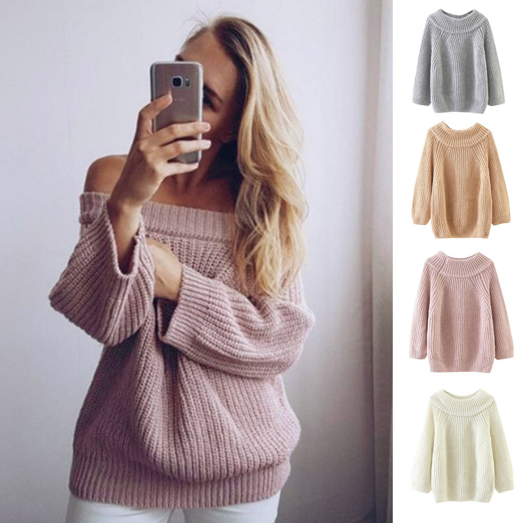 Fashion solid color sweater Women Warm Casual Autumn Winter Round neck Sweater Pullover Blouse pull femme nouveaute 2020#guahao