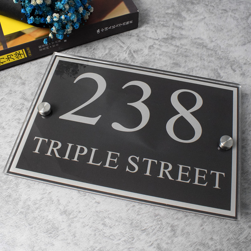 Modern Customize Home Address Plates Door   House Number Signs  Outdoor  Plaque Street Name Acrylic Glass Effect Nameplate