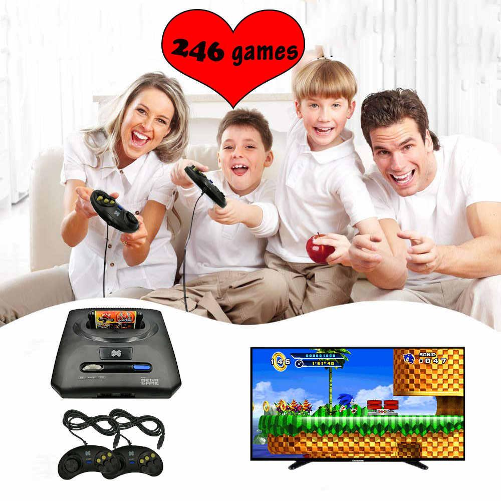 لعبة تلفزيون فيديو صغيرة 16 بت ل SEGA MD 2 وحدة التحكم AV إخراج سوبر يده أذرع التحكم في ألعاب الفيديو السلكية غمبد المدمج في 368 ألعاب الرجعية