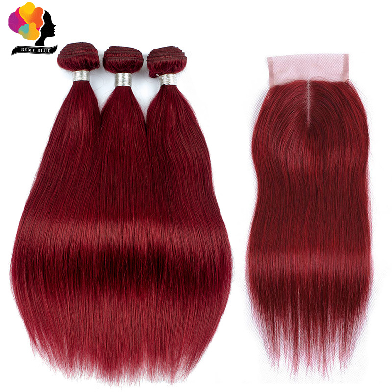 Red 3 Bundles With Closure Brazilian Straight 100% Human Hair Weave Colored 99J Burgundy Bundles With Closure Remyblue Remy Hair