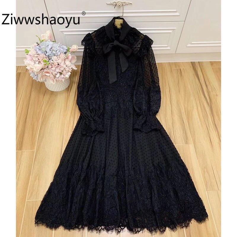 Ziwwshaoyu/дизайнерская Высококачественная кружевная вышивка в горошек на осень и зиму, аппликация с расклешенными рукавами, черные винтажные вечерние платья средней длины Платья      АлиЭкспресс