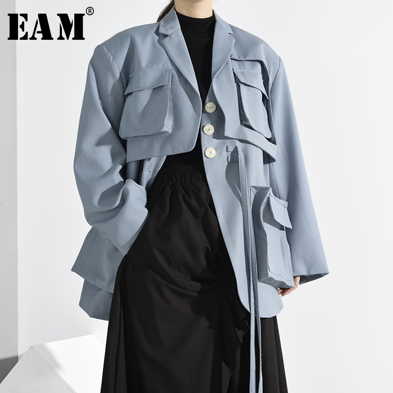 [EAM] Women Blue Pockets Split Big Size Ribbon Trench New Lapel Long Sleeve Loose Fit Windbreaker Fashion Spring 2020 1H26405