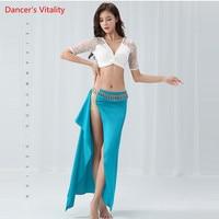 Sexy Side Slit Women Bellydance Costume 2 Piece Professional Performance Dance Top+Long Skirt Performance Costume