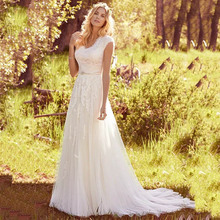 Eightree Classic Cap-sleeves Wedding Dress Lace Tulle Appliques vestido de noiva V Neck Beading Belt Bride Gown Robe soiree