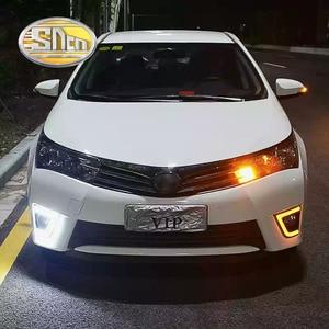 Image 1 - SNCN LED בשעות היום ריצת אור עבור טויוטה קורולה 2014 2015 2016 אביזרי רכב עמיד למים ABS 12V DRL ערפל מנורה קישוט