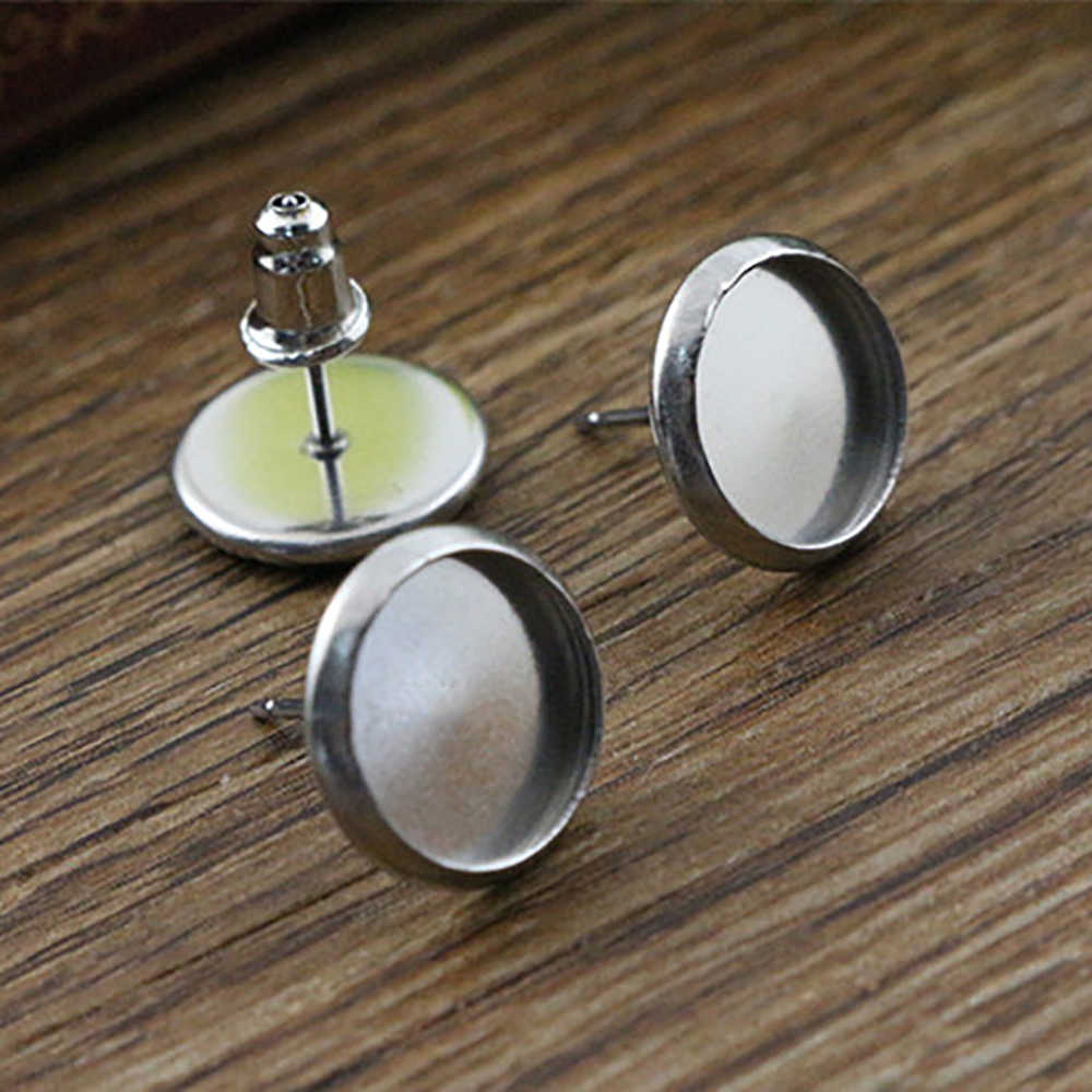 ( No Fade ) 10mm 20pcs/lots 2 Style Stainless Steel Earring Studs,Earrings Blank/Base,Fit 10mm Glass Cabochons,Buttons;