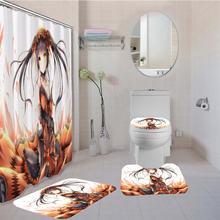 Пользовательские Японские Аниме 4 шт набор штор для ванной с