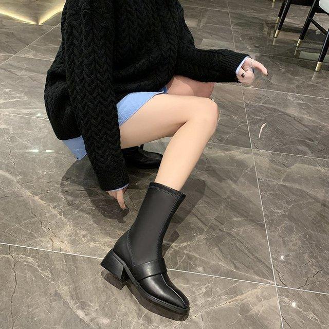 Фото 2020 winter fashion women boots casual zipper square heel ladies цена