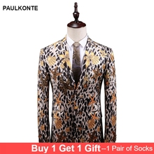 2019 MenS Fashion Trend Print Blazer High Quality Business Casual Slim Floral Dress Jacket